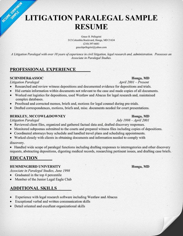 litigation paralegal resume sample resumecompanioncom - Example Of Paralegal Resume