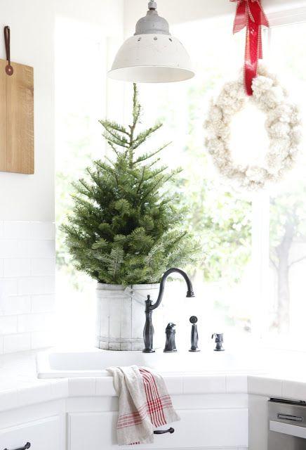 Christmas kitchen with a small tree - DustyLu Christmas joys