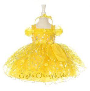 New Baby Girls Yellow Princess Dress 12 18 M Fairytale Birthday