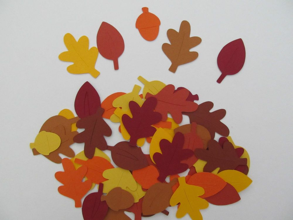 50 Fall/Autumn Leaf and Acorn Diecuts, Variety of Fall Colours -For Paper Crafts