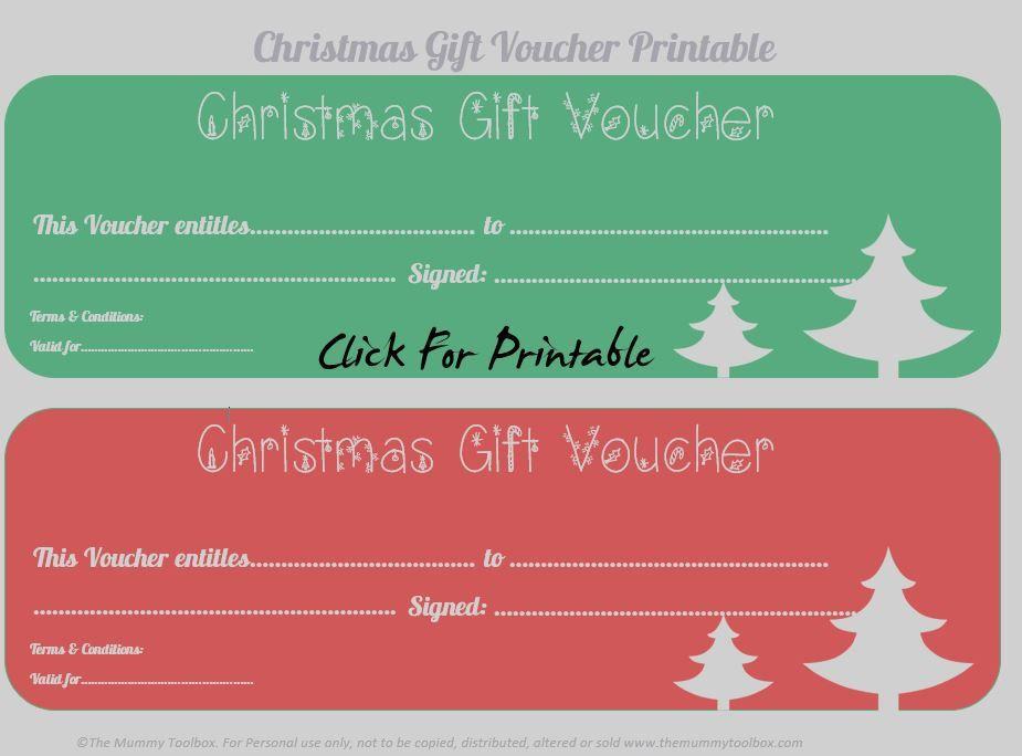 Free Printable Christmas Gift Vouchers Free Printables Homemade
