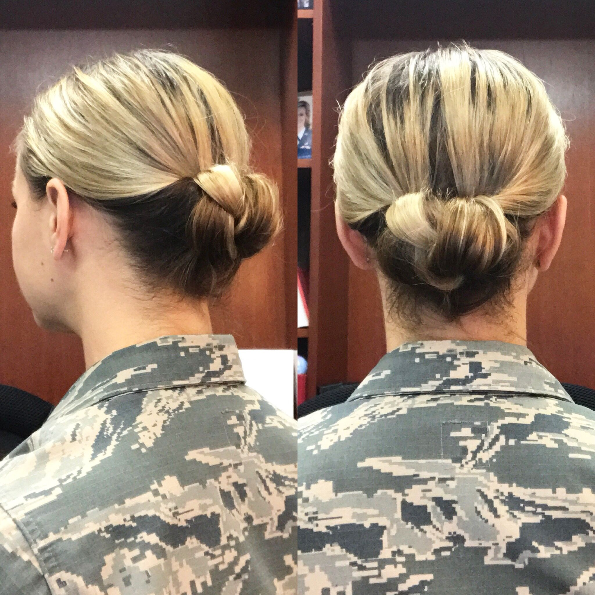 Brought To You From The Desk Of Lieutenant Rowe Today S Military Bun Is A Braided Gibson Tuck Army Military Bun Bun Hairstyles Bun Hairstyles For Long Hair