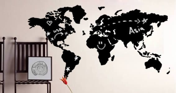 world map chalkboard wall decals | writable wall decals | pinterest