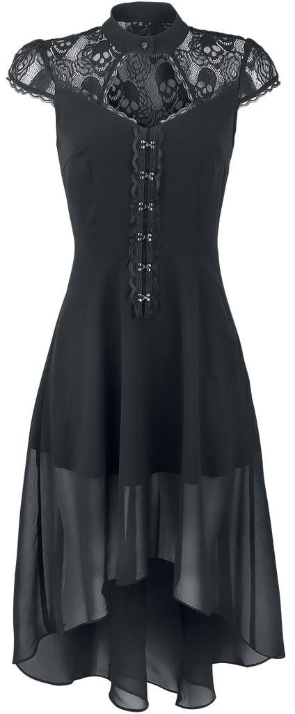 Black Gothic Summer Dress With Lace High Collar 3
