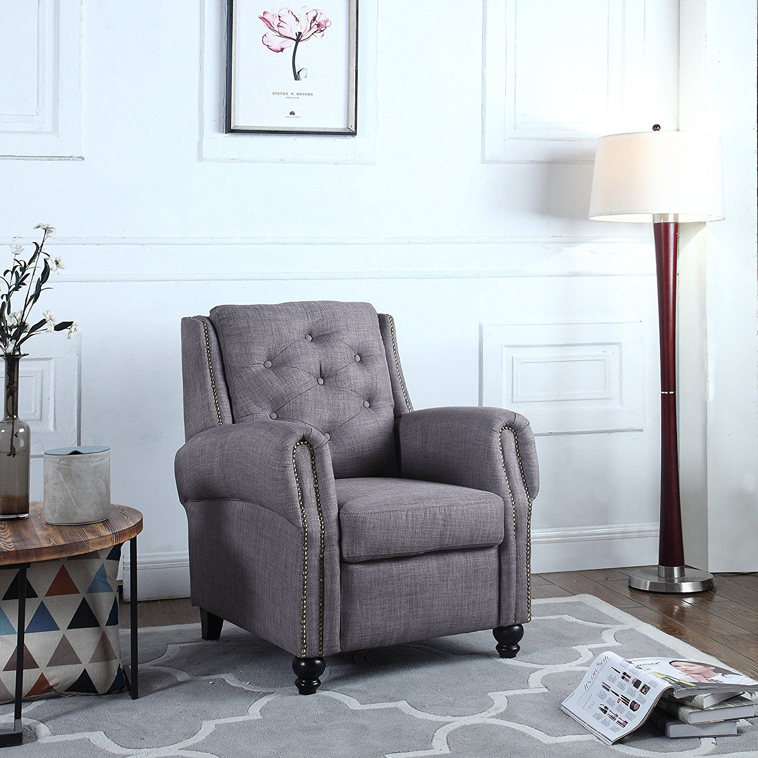 Amazonsmile classic tufted linen fabric accent chair