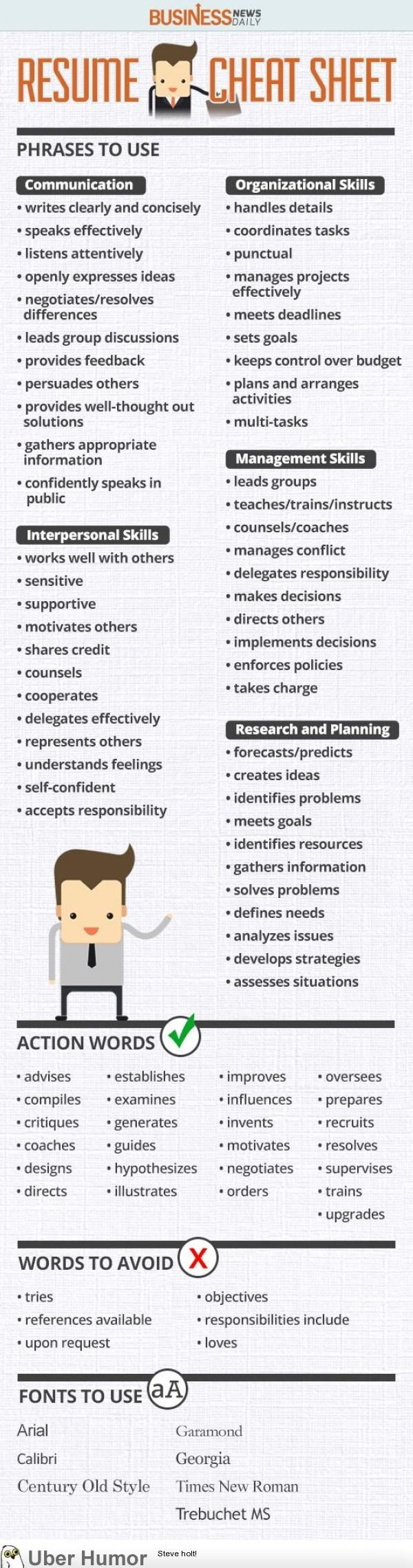Resume Cheat Sheet | Resumes | Pinterest