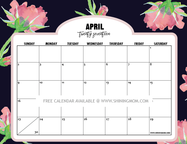 photograph regarding Pretty Calendars named Charming No cost Printable Calendars for April 2017! Stickers