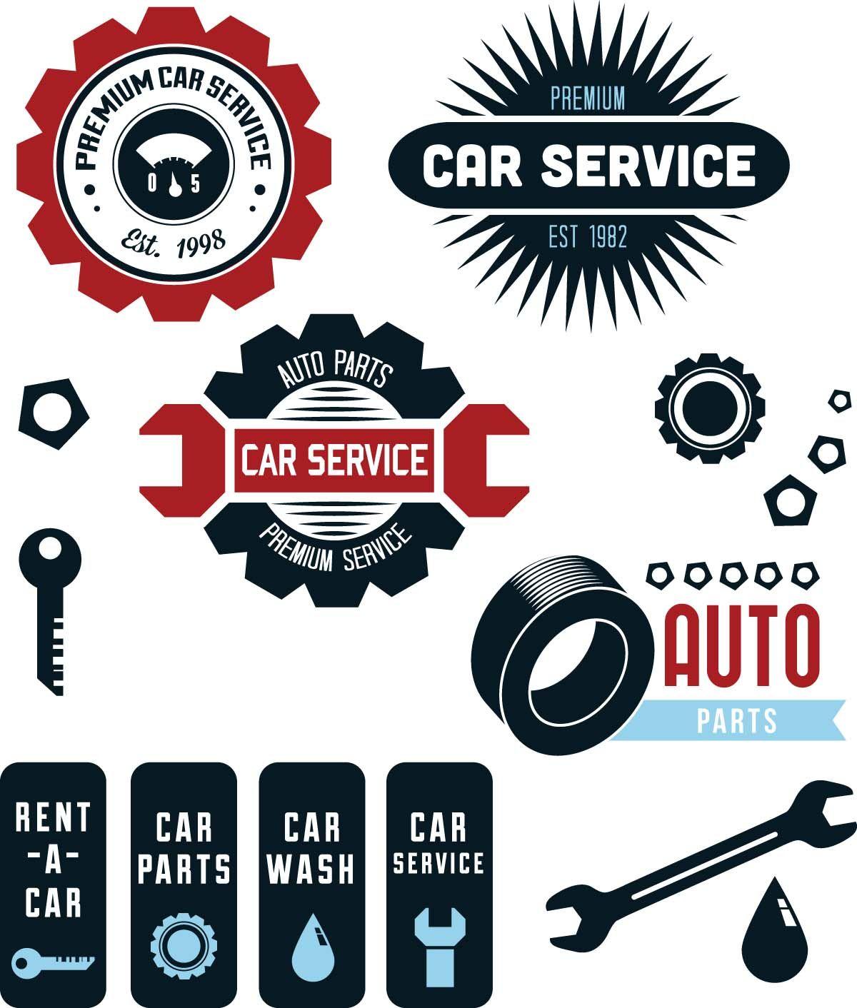 Vintage vector car service labels Business card design