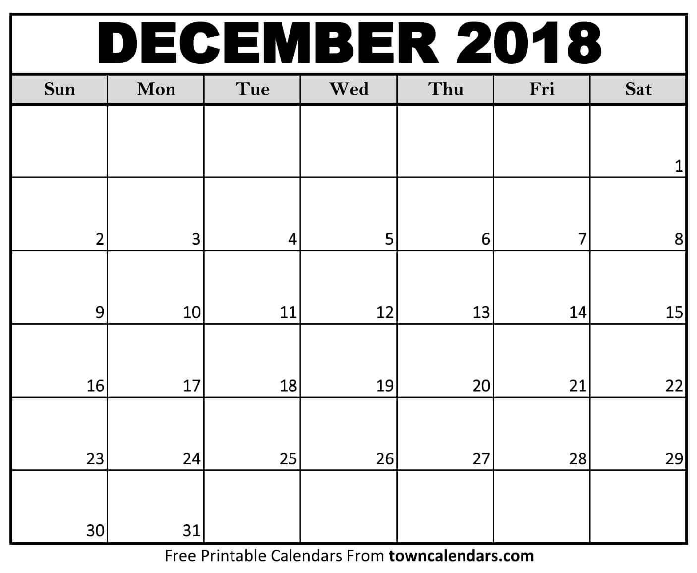 Calendario December 2019 Calendar December 2018 | December 2018 Calendar | Printable