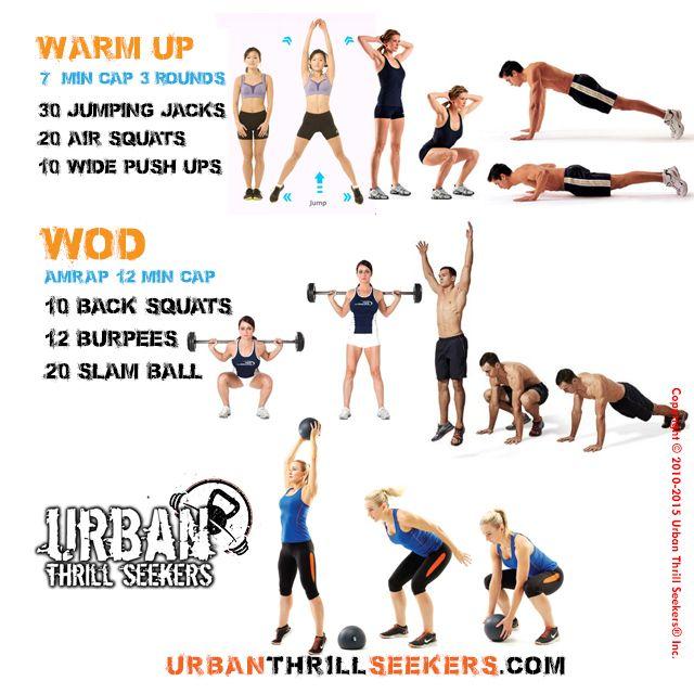 30 Jumping Jacks, 20 Air Squats, 10 Wide Push Ups, 10 Back