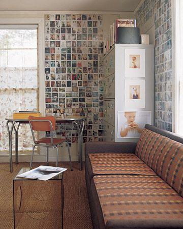 photo wall. recilar fotos viejas. las pegas y las laqueas