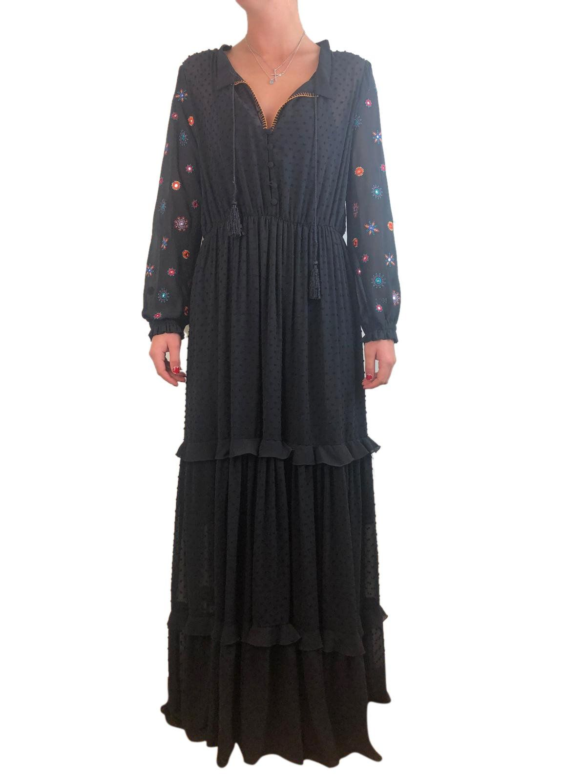 69a857b1 Saloni Black Floral Embroidered Maxi Dress Size 12 RRP £625 in 2019 |  designer bags & shoes New in | Dresses, Fashion, Floral