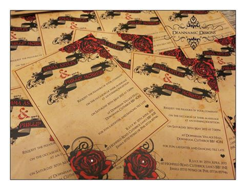 Rose, grunge, tattoo styled invite set Deannamic Designs