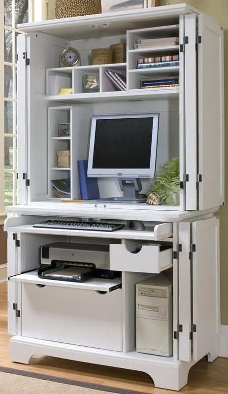 Naples White Compact Computer Desk And Hutch 5530 190 By Home