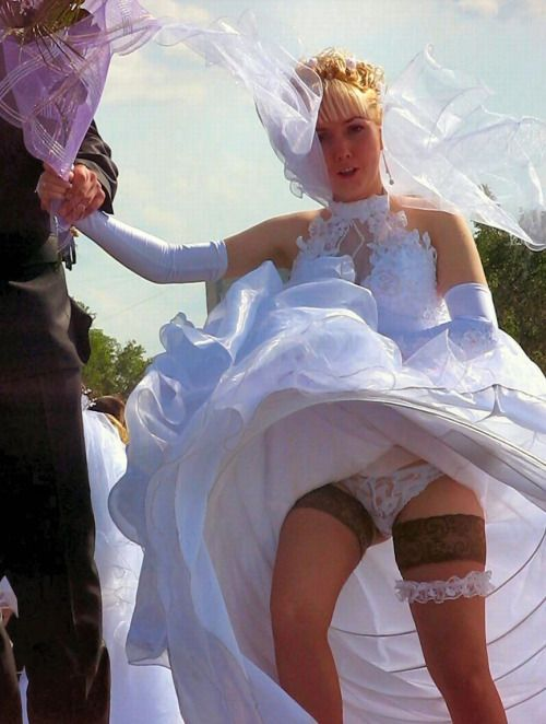 Upskirt wedding dress