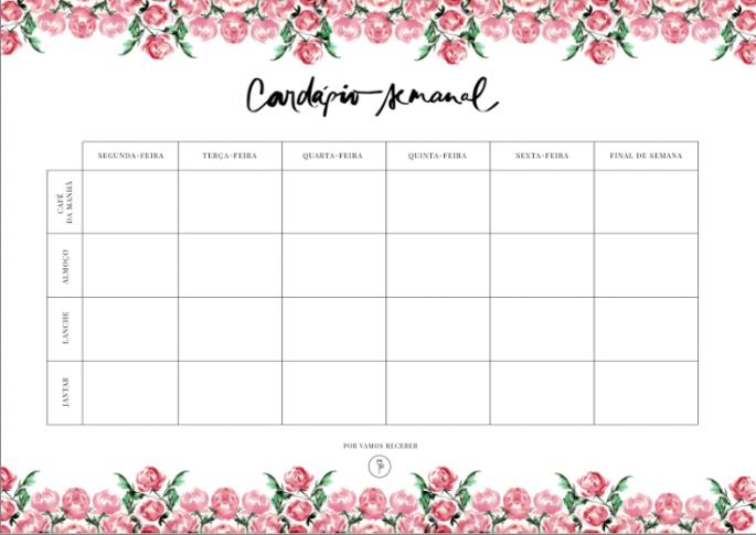 Card pio semanal para imprimir for Planning mural 2017