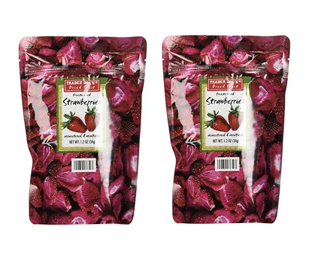 Trader Joe's Freeze Dried Strawberries, 2 Pack Strawberry Unsweetened Unsulfured #TraderJoes #freezedriedstrawberries
