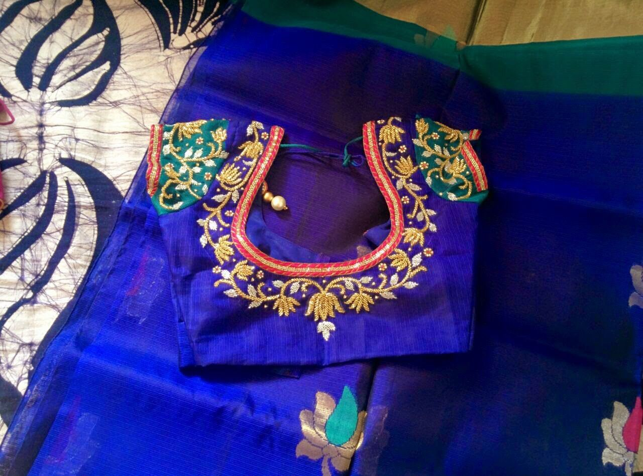 Maggam work blouse for pattu saree blouses patterns
