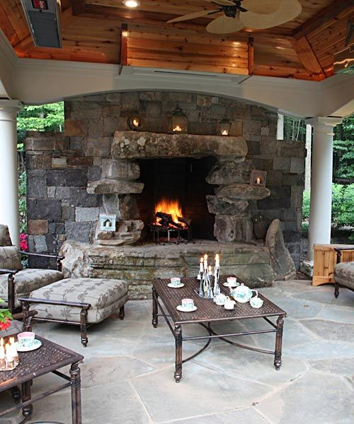 Outdoor Fireplace In Covered Cabana With Ceiling Heaters