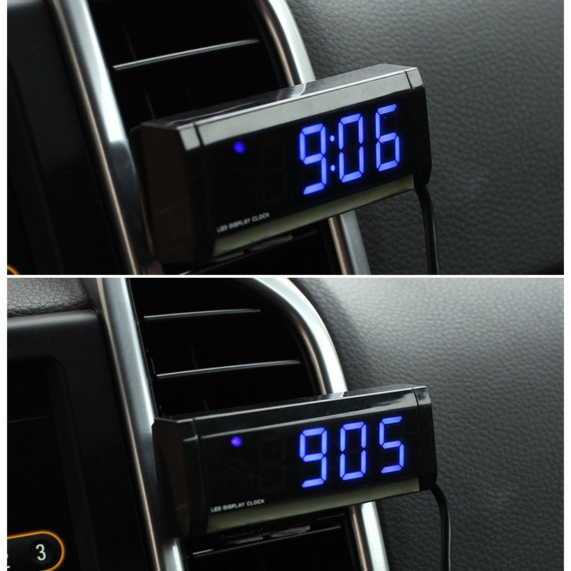 Car Dashboard Clock Air Vent Clock Auto Mini Vehicle Clock With Blue Led Backlight Adhesive Tape Black Mini Cars Clock Adhesive Tape