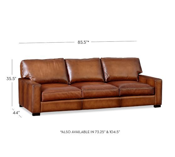 Turner Square Arm Leather Sofa | Pottery Barn; THE TURNER ALSO