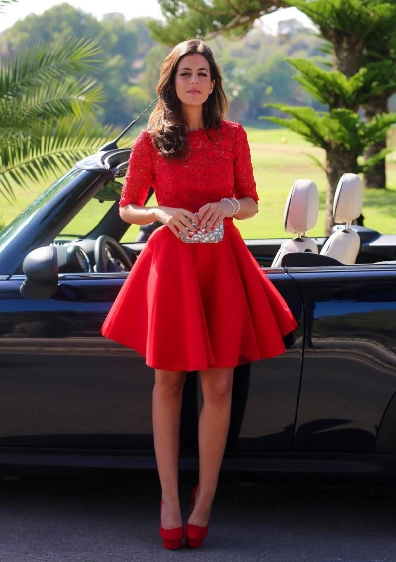 Modern halfsleeve red short homecoming dress with lace short prom