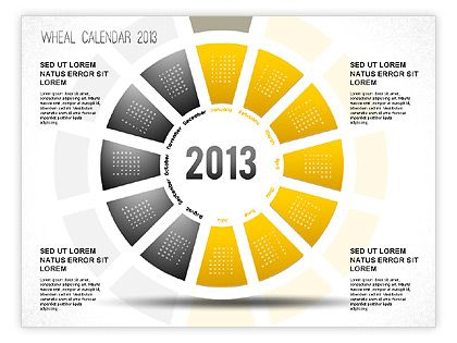 2013 powerpoint wheel calendar with highlighted sectors