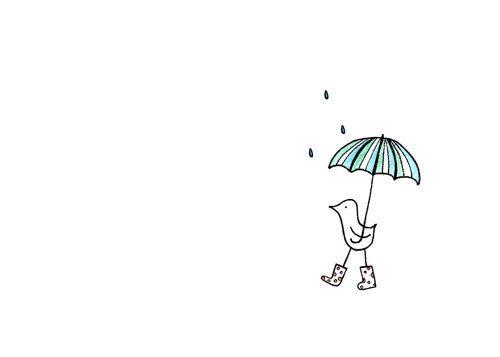 Cute Bird Drawing - Rain and Umbrella Art Print - Walking in the Rain