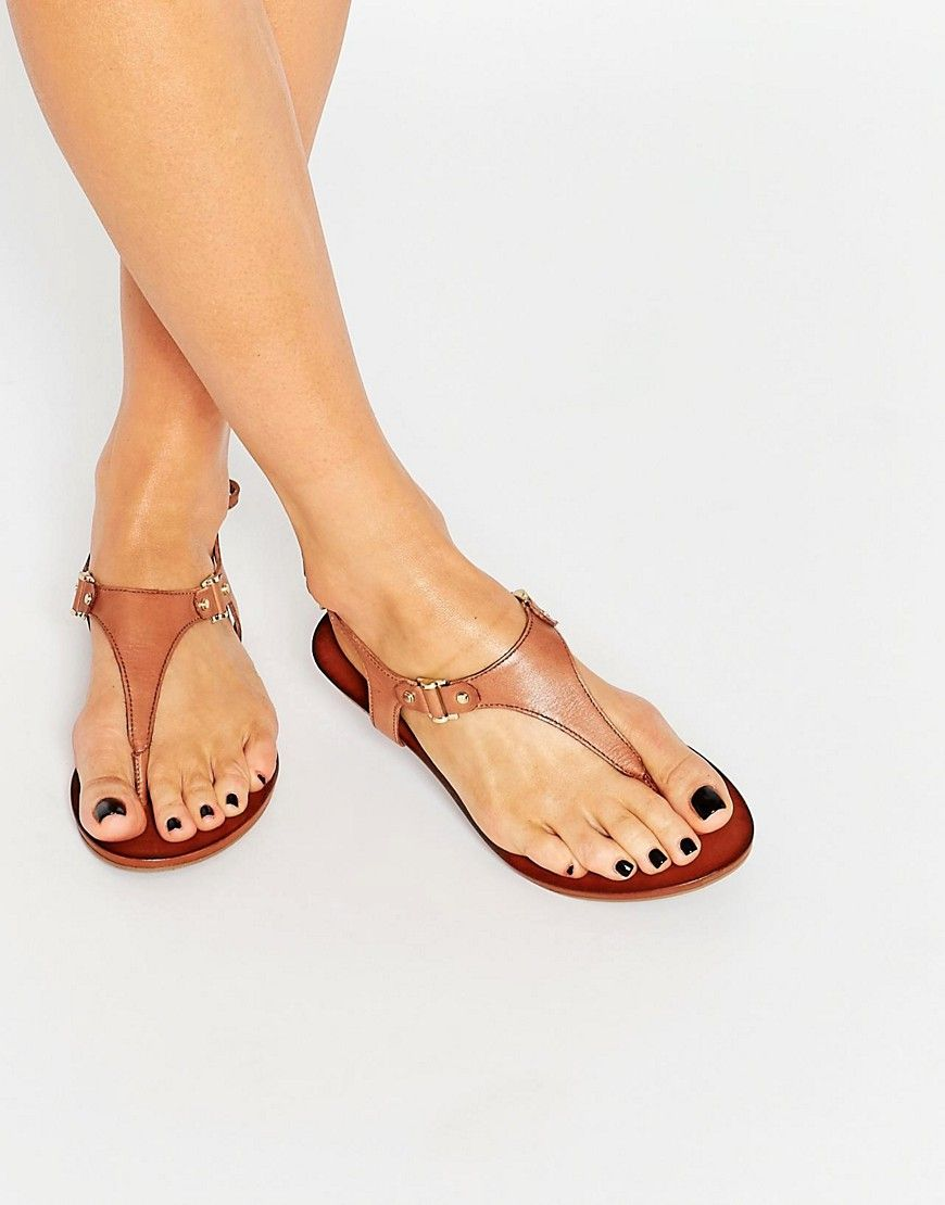 f18180fb816 Image 1 of ALDO Ashley Cognac Ankle Fastener Thong Sandals ...