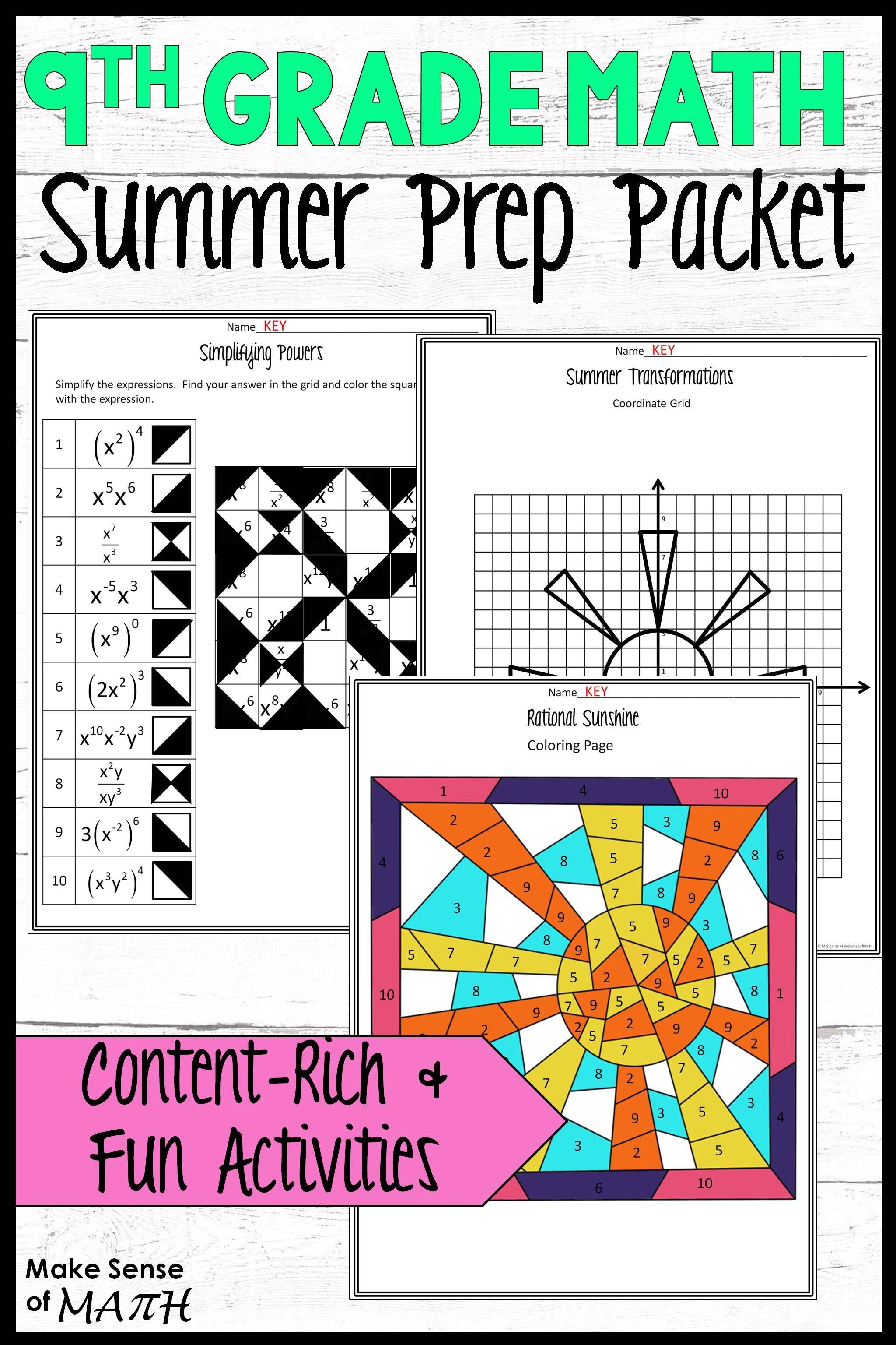 8th Grade Math Review Packet Summer Math Maths Activities Middle School Math Games Middle School [ 3072 x 2048 Pixel ]