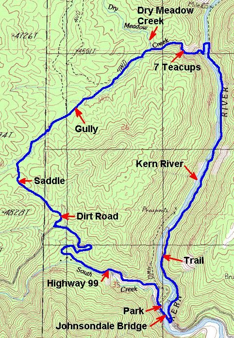 Seven Teacups near Kern River - Map of hike | Hiking Destinations in on map of routt county, map of chicot county, map of pope county, map of tulare county, map of missouri county, map of storey county, map of ventura county, map of san bernardino county, map of stone county, map of el dorado county, map of tippah county, map of chattooga county, map of grant county, map of natrona county, map of washington county, map of fresno county, map of fisher county, map of du page county, map of los angeles county, map of young county,