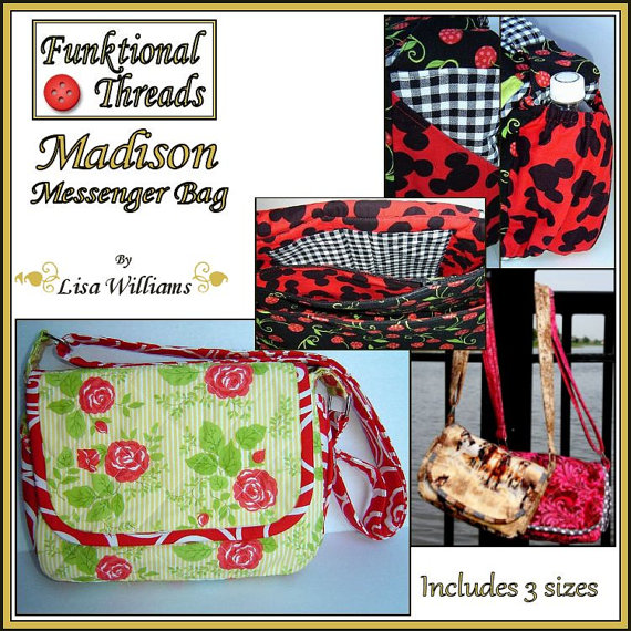 The Madison Messenger Bag is the perfect pattern for creating fun and functional purses for yourself and friends. The pattern includes 3 sizes
