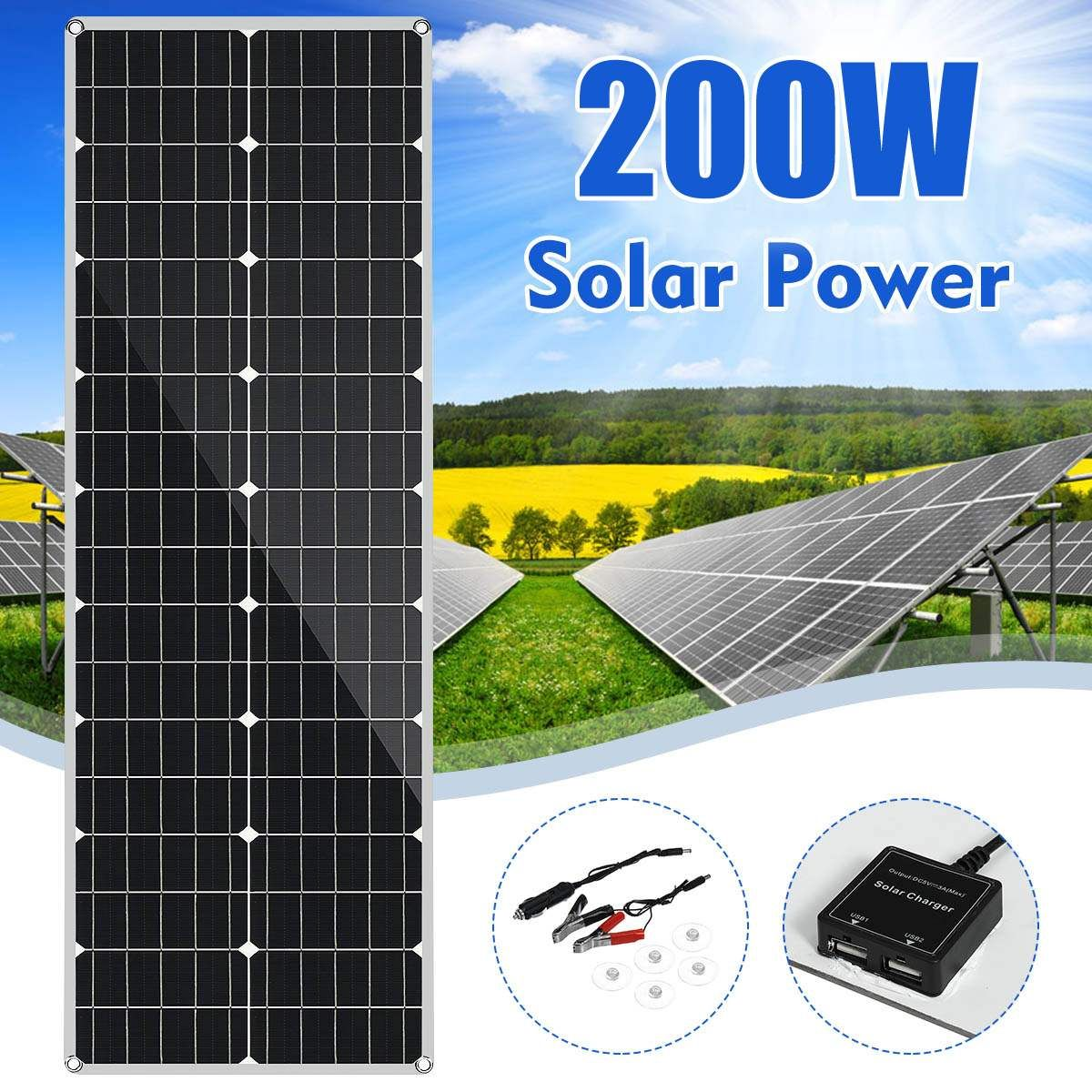 Leory 18v Solar Panel 200w Flexible Monocrystalline Silicon Solar Panel For Outdoor Cycling Climbing Hiking Camping Solar Batter Di 2020