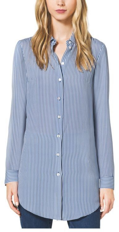 Pin for Later: The Brands Kate Upton Wears to Achieve High-Low Dressing May Surprise You  Michael Kors Ticking Stripe Silk-Georgette Shirt ($995)