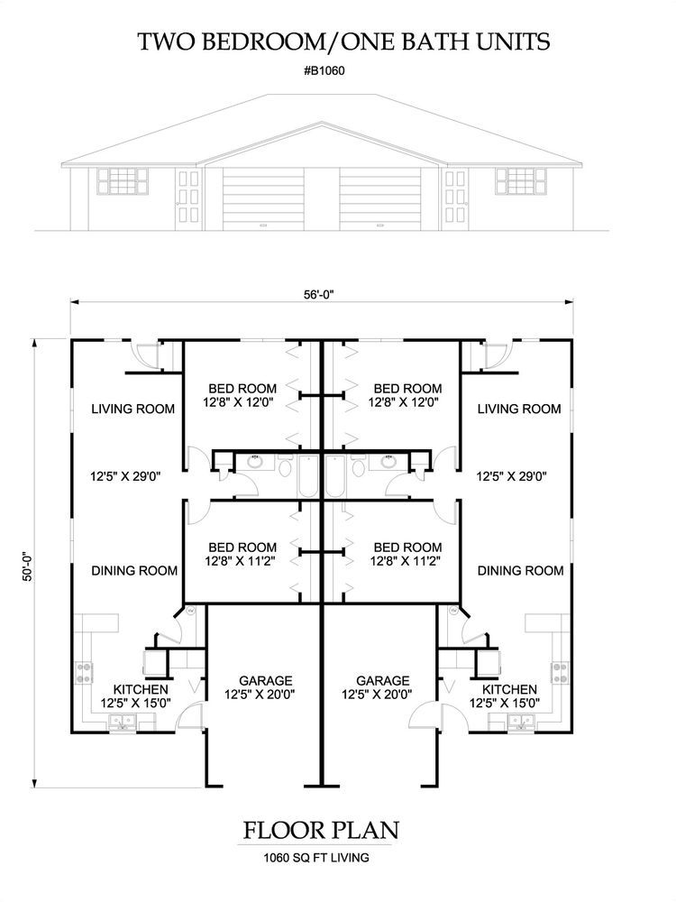 Two Bedroom One Bath Apartments two bedroom one bath duplex apartment 1060 sq ft per unit plan