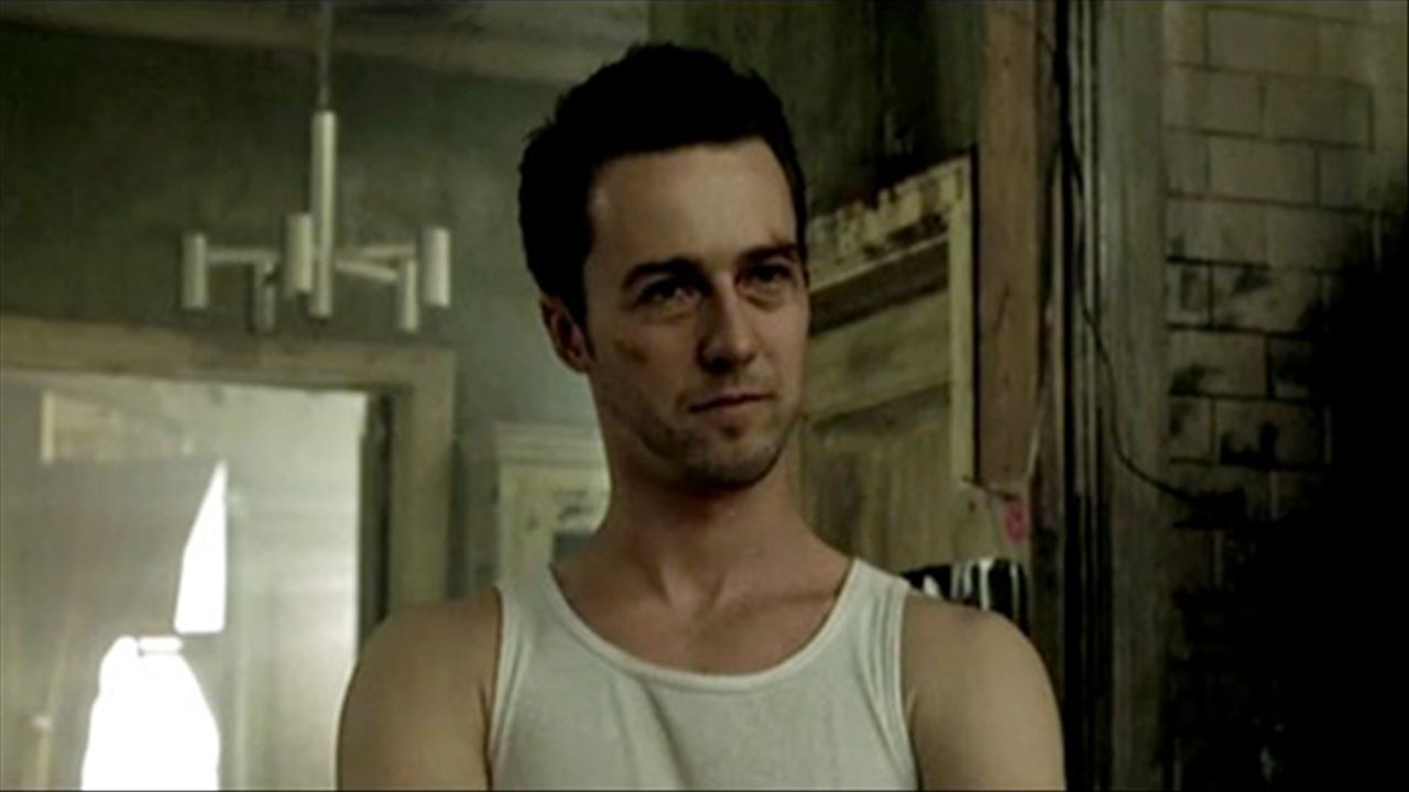 pix for > edward norton fight club beat up the pillowman edward norton fight club