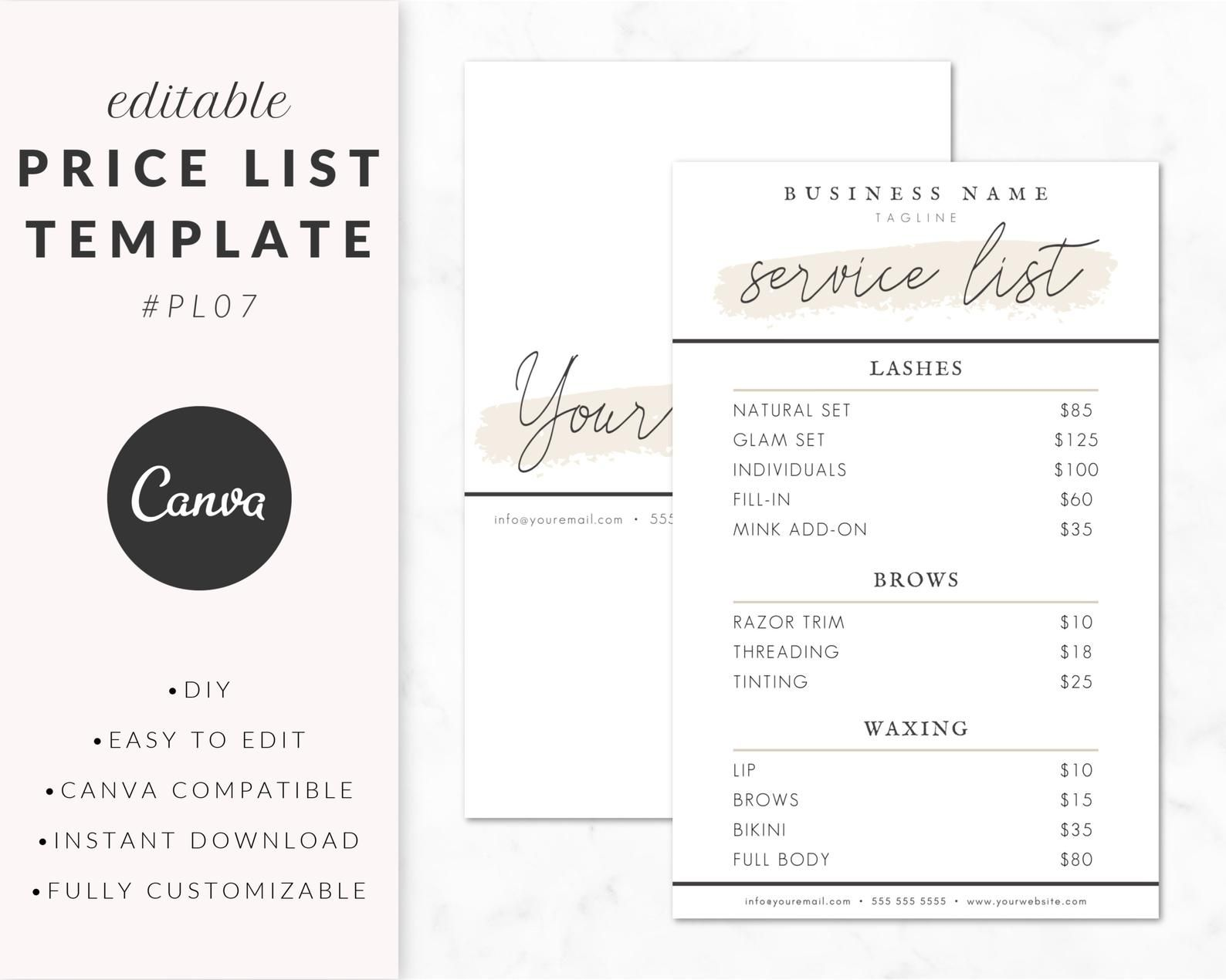 Price List Template For Canva Service List Design Guide Etsy Price List Template Invoice Design List Template