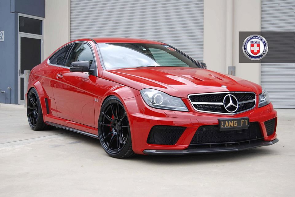 Red Mercedes C63 Amg Coupe Black Series Sitting On Hre Performance Wheels