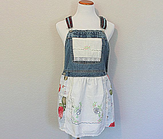 Bib Overall Tunic / Boho Shabby Cottage Chic Refashioned Cowgirl Clothing Large / Vintage Linen Clothes / Denim Top Romantic Praire Pinafore