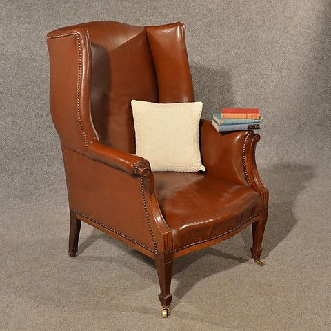 Antique Leather Armchair Club Lounge Salon Wing Chair English