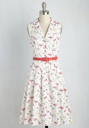 It's an Inspired Taste Dress in Birds by ModCloth - Multi, White, Novelty Print, Print, Pockets, Belted, Daytime Party, Vintage Inspired, 50s, Shirt Dress, Fit & Flare, Sleeveless, Summer, Woven, Exceptional, Exclusives, Private Label, Long, Cotton, Variation, Casual