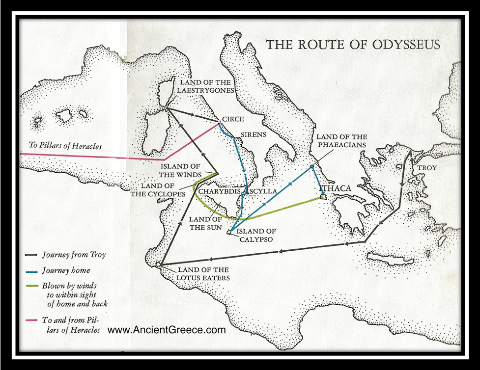 This is Odysseus route it shows every where he ended up on his