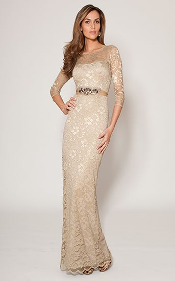 3 4 Sleeve Gold Lace Gown Teri Jon Don T Like