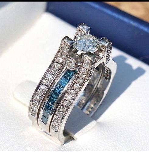 Custom Engagement Ring And Wedding Band White And Blue Diamonds