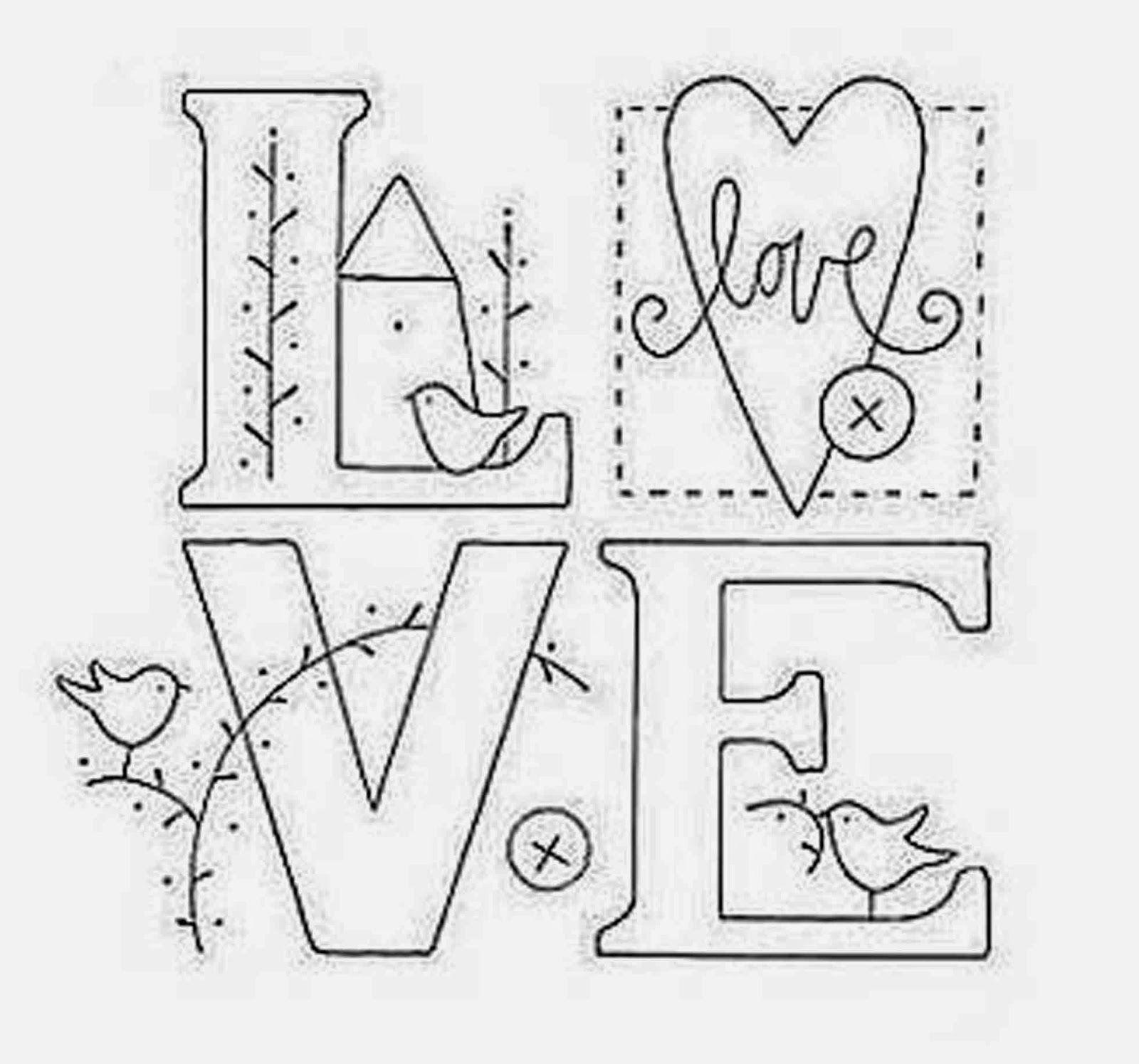 Colour it, sew it, trace it, etc. Ulla\'s Quilt World: Love quilt + ...
