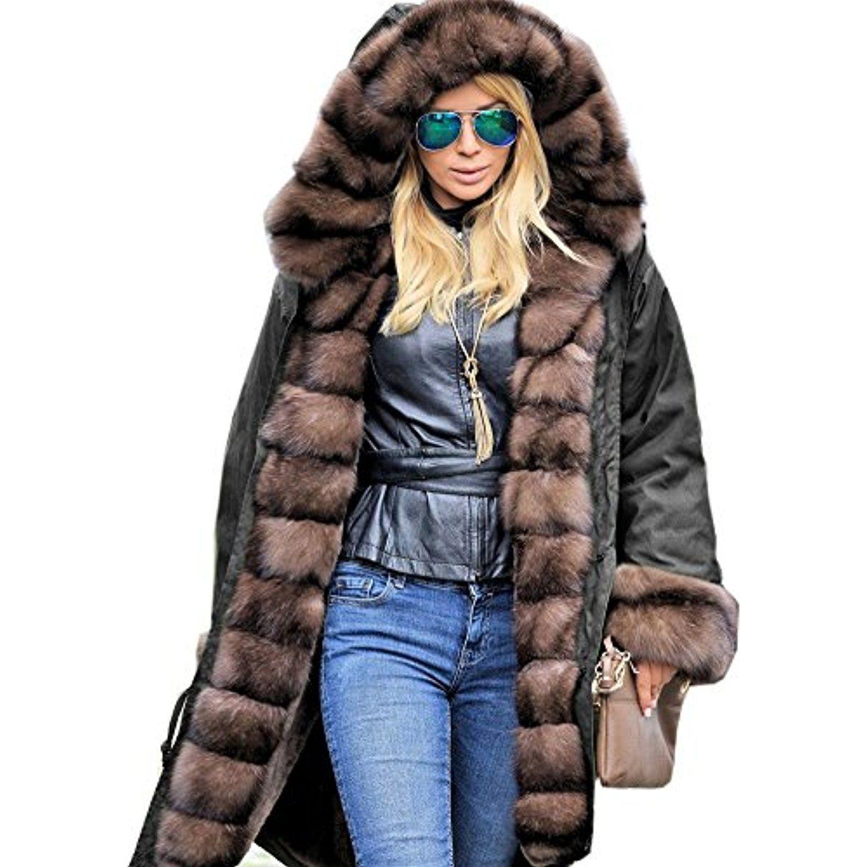 Womens Luxury Long Faux Fur Collar Parka Thicken Warm Hood Jacket Coat Plus Size