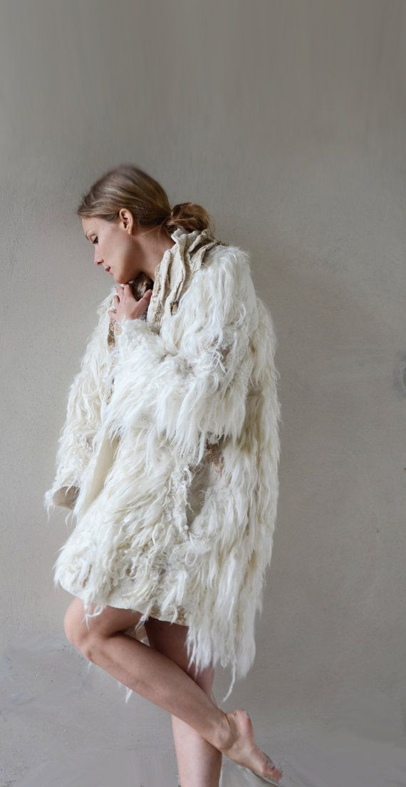 reserved for Chantal White and golden felt coat fur free by vilte, $2249.00