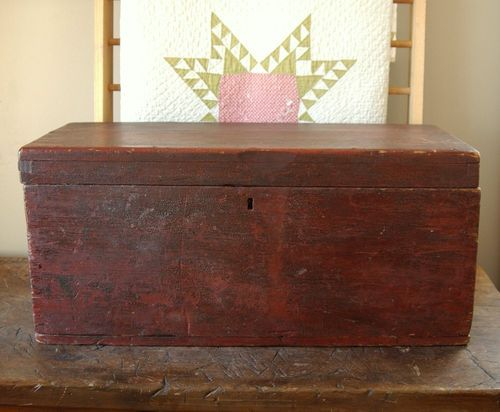 Exceptionnel 1800s Primitive Red And Black Painted Seamans Chest, Blanket Box Storage  Trunk Bench.