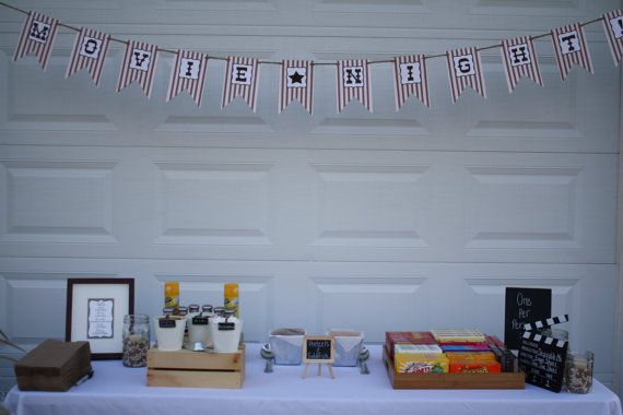 MOVIE NIGHT BANNER  shabby chic, old-fashioned back to school movie night  banner! From Parties and Pastries $30