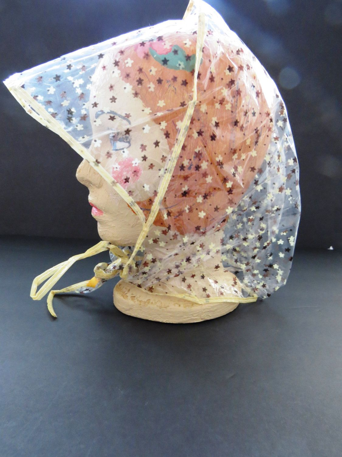 Retro Plastic Rain Hat with Visor - Brown Yellow Stars Mod Rain Bonnet -  Cover Up Head Rain Gear - Womens Accessories - Foldable Rain Cap by  shabbyshopgirls ... ef3ae45b8a82